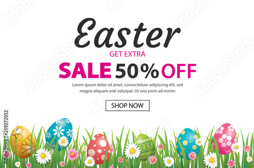Easter sale banner design template with colorful eggs and flowers. Use for advertising, flyers, posters, brochure, voucher discount. - 259272032