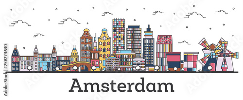 Outline Amsterdam Netherlands City Skyline with Color Buildings Isolated on White. © BooblGum