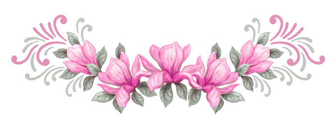 Floral spring magnolia ornament. Hand drawn painting watercolor pencils and paints pink magnolia flowers © Marisha