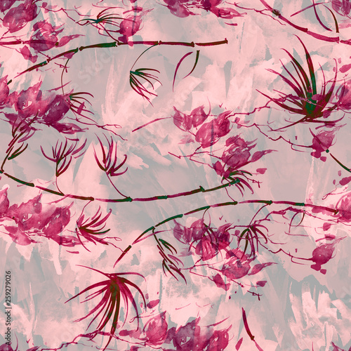 Vintage seamless watercolor pattern of plants, Herbs, palm, bamboo. pink, burgundy, brown, black  flowers watercolor. Abstract paint splash. Tropical pattern, stem and leaf of a palm tree. © helgafo