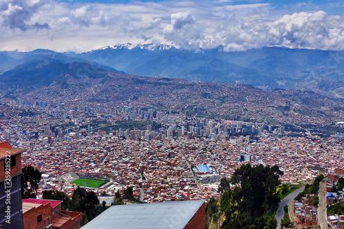 canvas print picture View over La Paz in Bolivia
