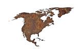 Karte von Nordamerika auf rostigem Metall