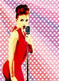 Pop-art design template. Lady jazz singer