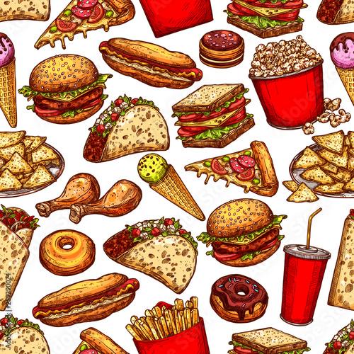 fototapeta na ścianę Fast food junk meal and drinks seamless pattern