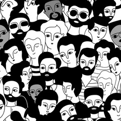 Seamless pattern with a multicultural group of men. © savvalinka