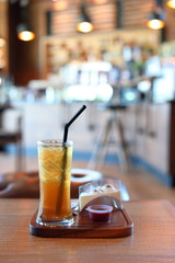 iced lemon tea cold drink in cafe