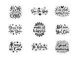 Vector typography motivational phrases set