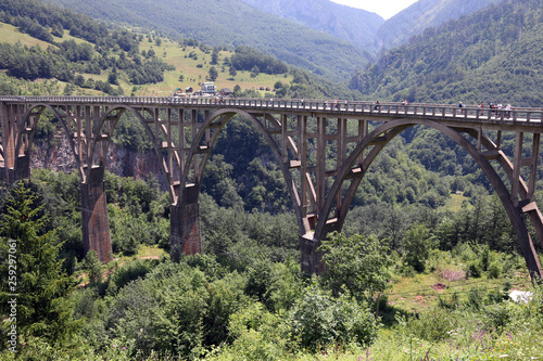 Djurdjevic bridge Tara river canyon landscape Montenegro