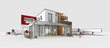 Leinwandbild Motiv Projet de construction d'une maison d'architecte