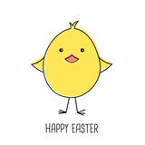 Cute cartoon chick, happy easter, vector illustration