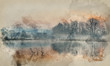 Watercolour painting of Landscape of lake in mist with sun glow at sunrise