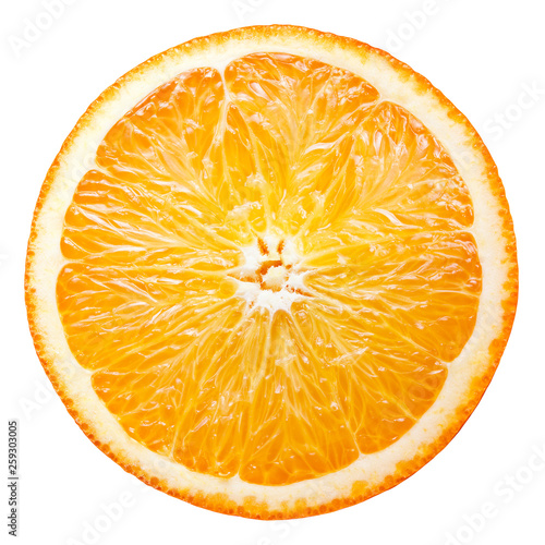 Orange cut fruit. Orang slice top view isolate. Half of orange isolated on white with clipping path. © Tim UR