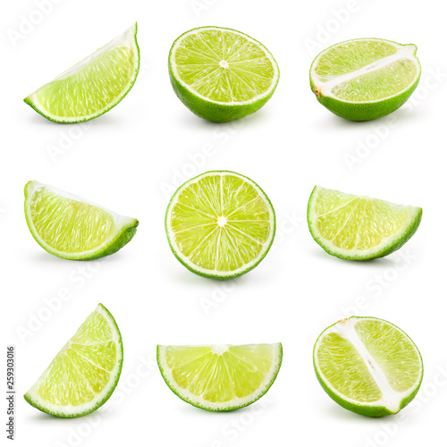 Lime isolated on white. Collection: lime slice, piece, half, quarter, part, segment, section. © Tim UR