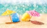 Colorful easter eggs on ocean beach