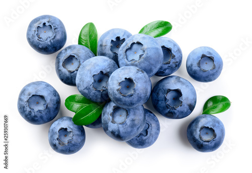 Blueberries. Blueberry isolate on white. Top view. © Tim UR