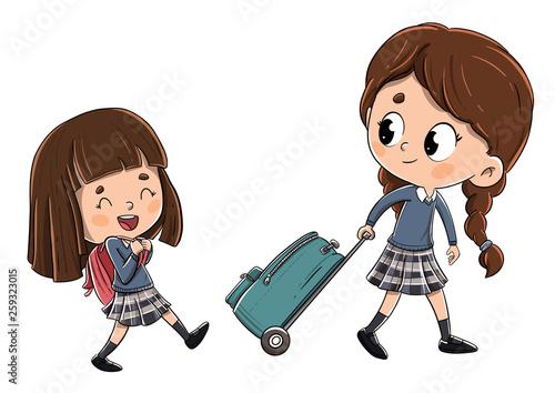 Leinwandbild Motiv Niñas camino del colegio