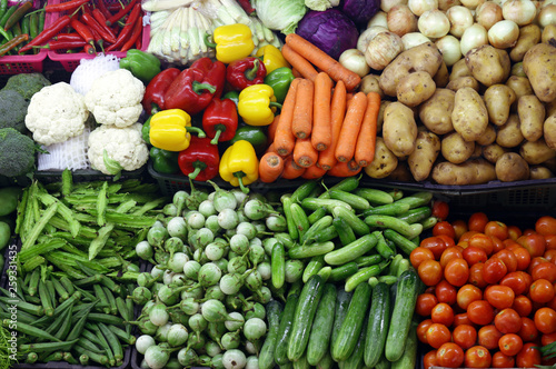 various organic vegetables, farmers market