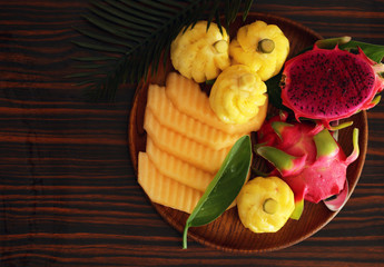 tropical fruits, pineapple, banana, dragon fruit