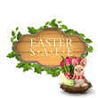 Easter sale, modern banner in form of wooden board with Easter Bunny and tulips
