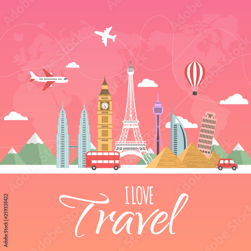 It's Time to Travel.Trip to World. Travel to World. Vacation. Road trip. Tourism. Travel banner.Modern flat design. EPS 10. Colorful.  - 259338422