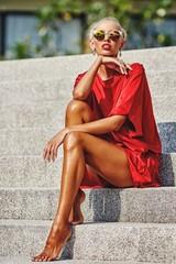 Fashion street portrait of stylish woman outdoor