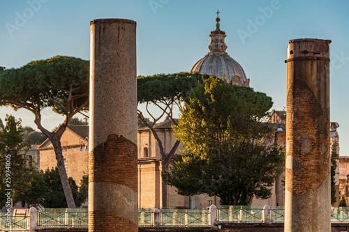 fototapeta na ścianę Traian Forum with column ruins in Rome