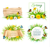 Set of spring sale banners with flowers and cards. Vector.