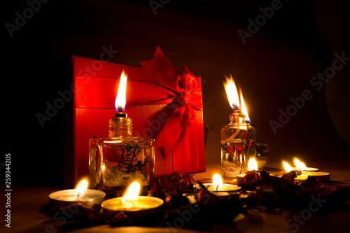 Beautiful candles and gifts burning on Valentine's Day © mehmetcan