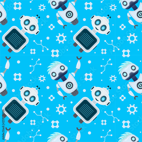fototapeta na ścianę Robots cartoon character seamless vector pattern on blue background