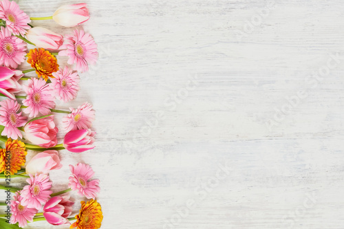 Pink tulips and gerberas on white background.  Holiday concept. Space for your text