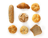 Variety of fresh bakery products, top view isolated on white background
