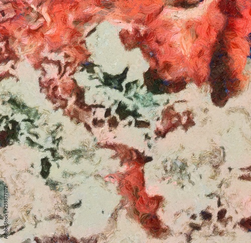 Detailed close-up grunge clouds abstract background. Dry brush strokes hand drawn oil painting on canvas texture. Creative simple pattern for graphic work, web design or wallpaper. Chaotic splashes. © Alexandr