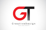 Red and Black GT G T Letter Logo Design. Creative Icon Modern Letters Vector Logo.