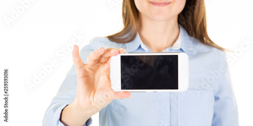 Woman holding and showing mobile phone blank screen empty © sylv1rob1