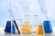 Leinwanddruck Bild - Chemical chemistry laboratory acid alkaline analysis background