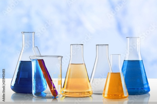 Leinwanddruck Bild Chemical chemistry laboratory acid alkaline analysis background