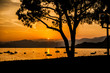 canvas print picture - Sonnenuntergang am Gardasee in Italien