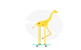 Giraffe on scooter flat vector illustration