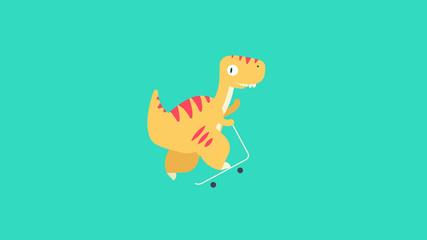 Dinosaur posed on scooter flat vector illustration