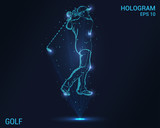 Golf hologram. Holographic projection of a golfer. Flickering energy flux of particles. The scientific design of the golf.