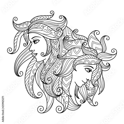 Gemini zodiac sign. Zentangle coloring book page for adult.  © Ирина Яшкирева
