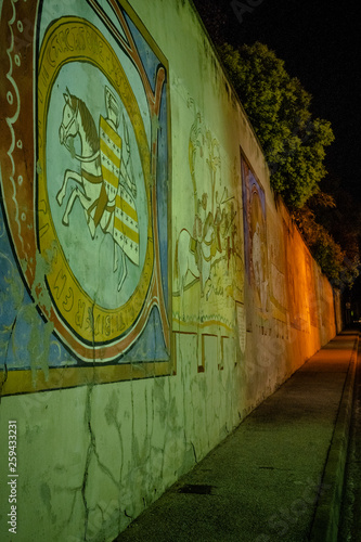 canvas print picture Alte, bemalte Wand in Carcassonne, Frankreich