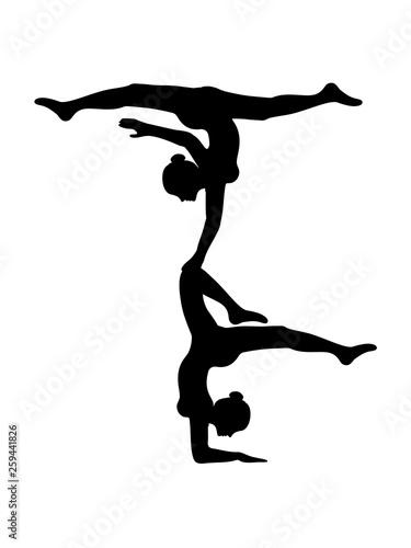 canvas print picture turm crew 2 turnerinnen team freunde gymnastik frau yoga sport turnen ballette mädchen weiblich silhouette logo clipart verein