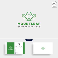 mountain forest nature badge line simple logo template vector illustration icon element
