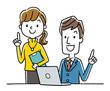 笑顔で仕事をする男性と女性