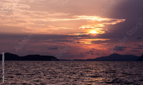 Sunset in ocean view at Phuket Thailand