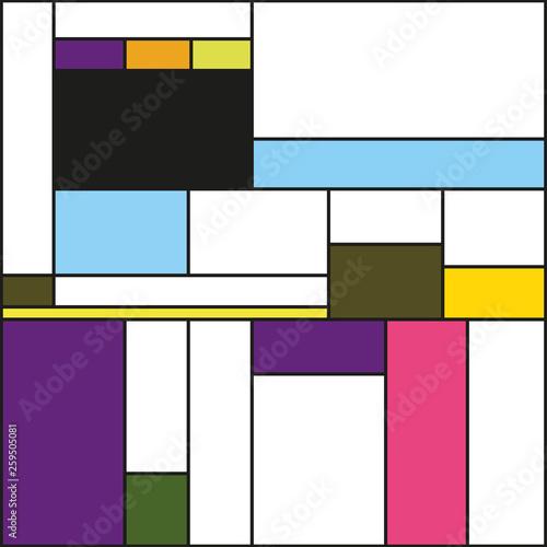 Mondrian style vector illustration. © Lena