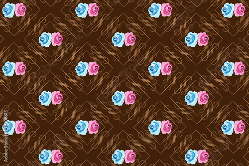 Seamless Brown Background with Blue and Pink Roses - 259508613