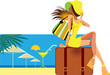 resort, vector illustration in cartoon style of traveler woman sitting on suitcase