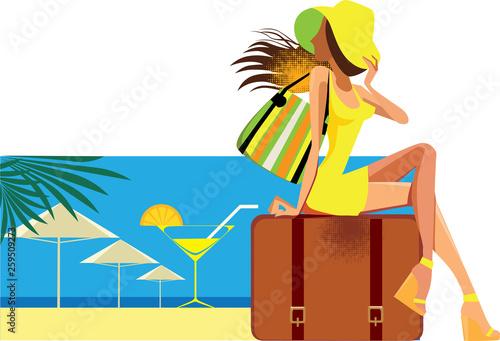 Leinwandbild Motiv resort, vector illustration in cartoon style of traveler woman sitting on suitcase